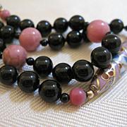 SALE Cloisonne Black Onyx Beaded Necklace