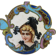 SALE Vintage Enamel Dutch Girl Charm/Pendant