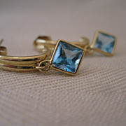 SALE 14kt Blue Topaz Hoop Earrings