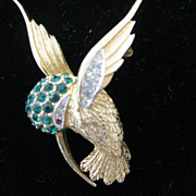 SALE Marcel Boucher Hummingbird Pin Faux Emerald
