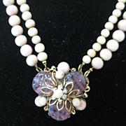 SALE Miriam Haskell Floral Bead Vintage Necklace