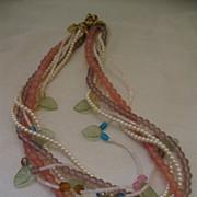 Retro Robert Rose Pastel Bead Torsade Necklace