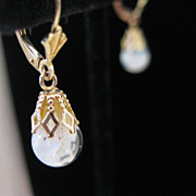 SALE 14kt Floating Opal Vintage Dangle Earrings