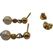 SALE Sweet Estate Dangle Pearl Earrings 14kt