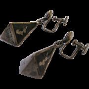 SALE Siam Dangle Earrings - Sterling