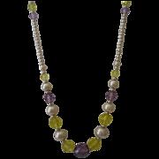 SALE Vintage Seed Pearl Crystal Necklace