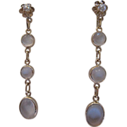 Estate Moonstone Diamond Dangle Earrings 10kt Gold