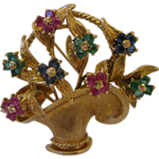 Estate 14kt Gemset Flower Basket Brooch