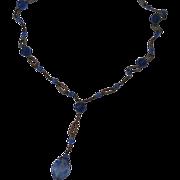 Art Deco Czech Blue Crystal Y Necklace