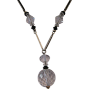 "Art Deco ""Y"" Necklace Clear Crystal with Black Enamel"