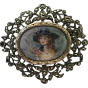 Estate Painted Portrait Paste Pin