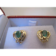 SALE 14kt Emerald Diamond Stud Earrings