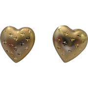 SALE 14kt Puffy Heart Stud Earrings