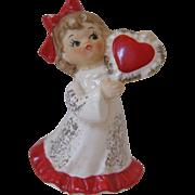 SOLD Lefton Girl Holding Valentine