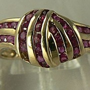 SALE 14kt Genuine Ruby Knot Ring, Size 5 1/2.