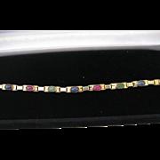 Estate 14kt Fine Gemstone Line Bracelet