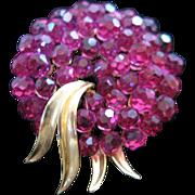 Vintage Trifari Magenta Swarovski Crystal Brooch