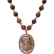 Sterling Cameo Bead Necklace