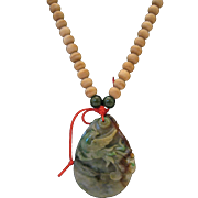 Vintage Carved Jadeite and Wooden Bead Necklace