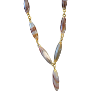 Victorian Banded Agate Drop Necklace