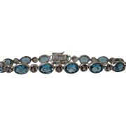 Sterling Silver Simulated Blue topaz and Simulated Amethyst Line Bracelet