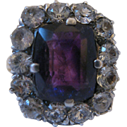 Victorian Amethyst and White Sapphire 10kt Ring