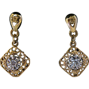 14kt Diamond Dangle Filligree Earrings
