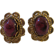 14kt Garnet Cabochon Earrings Studs