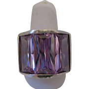 Vintage Sterling Rose de France Amethyst Ring