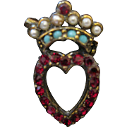 "Antique Miniature Love Token ""Luckenbooth"" Pin"