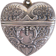 Victorian Sterling Silver Heart Vesta Case