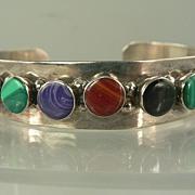 SALE Sterling Silver Bangle w/Semi-precious Stones