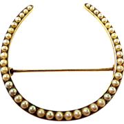 Carter & Gough Newark Lucky Gold and Natural Pearl Horseshoe Victorian Brooch c. 1890