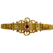Exciting Etruscan Revival Diamond, Gold and Garnet Hanky Holder Brooch c. 1880