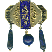 Unique Victorian Lapis, Gold, Pearl and Enamel Chatelaine Brooch