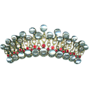Extraordinary Crown Brooch with Diamonds, Rubies, Moonstone, & Pearls c. 1850