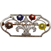 Edwardian Krementz Platinum & 14kt. Diamond & Stone Flower Basket Brooch c. 1910