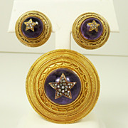Swedish 1867 18kt. Gold, Amethyst & Diamond Demi Parure Archaeological Revival