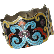 Alluring Arabesque Margot de TAxco Sterling and Enamel Bracelet #5531 c. 1955
