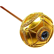 Scrumptious Art Nouveau 14kt. Gold and Montana Sapphire Hat Pin c. 1890