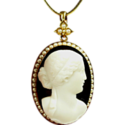 Incredible Natural Pearl and Hardstone Onyx Cameo Pendant in Gold dated 1878