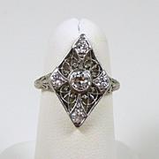 Art Deco Platinum & Diamond Filigree Ladies Fashion Ring