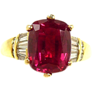 Outstanding Natural Rubellite Tourmaline and Diamond Ring in Gold