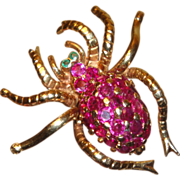 Gorgeous 14K Ruby Spider Brooch with Emerald Eyes