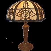 SALE Art Nouveau Slag Stained Bent Glass Lamp w/ Cameos Arts & Crafts Mission Bungalow