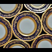 SALE 8 French Limoges Cobalt Blue Gold Encrusted Dinner Plates Set France