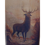 SALE 19c Antique Painting Elk Oil on Canvas