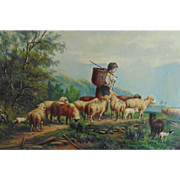 SALE 19c Sheep Lamb Child Landscape Painting Oil on Canvas Signed Christian Mali Well Listed G