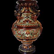 SALE 19c WS & S Austrian Majolica Vase w/ Winged Griffins Faces Flowers Wilhelm Schiller .