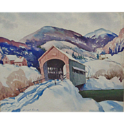 SALE Signed Vintage Watercolor Painting Covered Bridge Winter Landscape